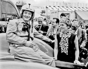 Donald Campbell with his wife Tonia at Goodwood in the 1960s – still a speed king today.