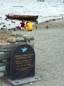 Donald Campbell's memorial on the shore of Coniston.