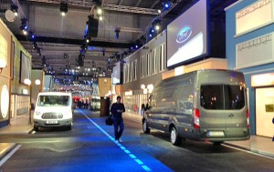This 'street' was evidence of the money Ford spent on the Transit launch – not just for us though, six weeks of dealers would follow us...