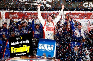 Dale Jnr - his second 500 win, a decade after the first. (Photo courtesy NASCAR)