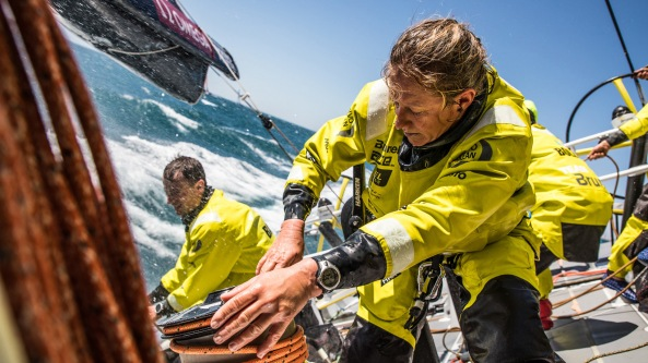 Leg 3, Cape Town to Melbourne, day 01, start on board Brunel. Photo by Ugo Fonolla/Volvo Ocean Race. 10 December, 2017.
